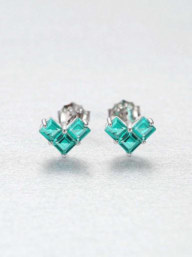 Gn 25H08 925 Sterling Silver Cubic Zirconia Heart Dainty Stud Earring