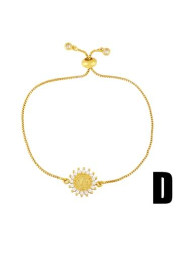 D Brass Cubic Zirconia Religious Vintage Link Bracelet