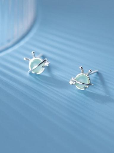 925 Sterling Silver Cats Eye Geometric Cute Stud Earring