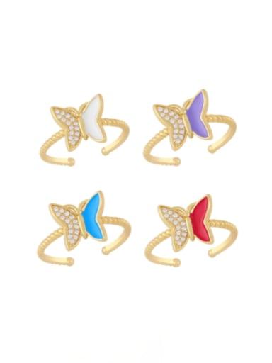 Brass Enamel Rhinestone Butterfly Minimalist Band Ring