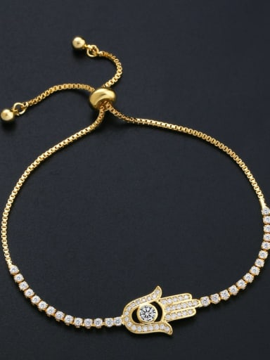 Brass Cubic Zirconia Irregular Minimalist Adjustable Bracelet