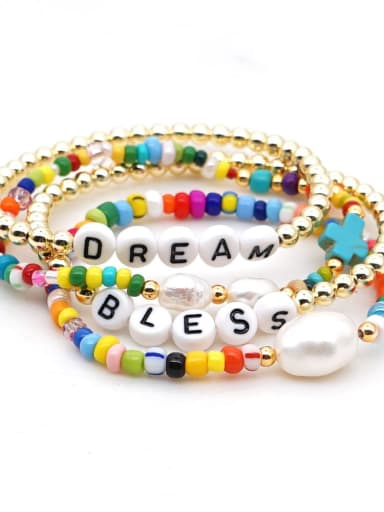 Stainless steel MGB  Bead Multi Color Letter Bohemia Stretch Bracelet