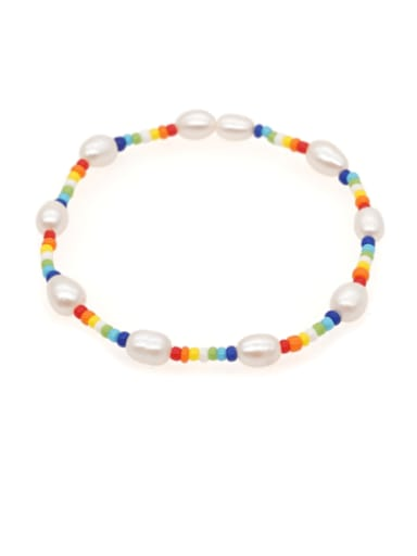 Freshwater Pearl Multi Color Round Bohemia Stretch Bracelet