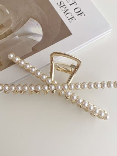 Alloy Imitation Pearl Minimalist Geometric  Jaw Hair Claw