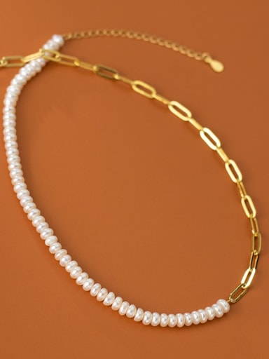 925 Sterling Silver Imitation Pearl Geometric Minimalist Hollow Chain Necklace