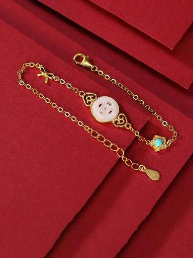 Hotan jade 925 Sterling Silver Jade Geometric Minimalist Link Bracelet