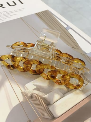 Amber with square head Alloy Cellulose Acetate Minimalist Geometric Jaw Hair Claw