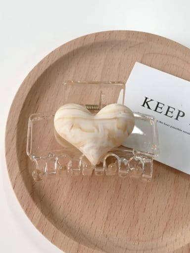 White grip Alloy Resin Geometric Hair Grab Heart  Hair Rope