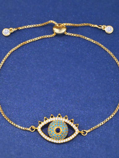 Brass Cubic Zirconia Evil Eye Minimalist Adjustable Bracelet