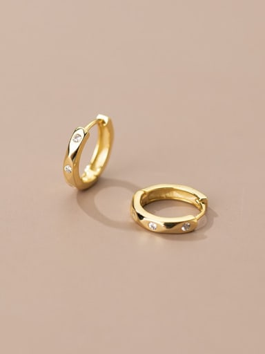 925 Sterling Silver Rhinestone Geometric Minimalist Huggie Earring