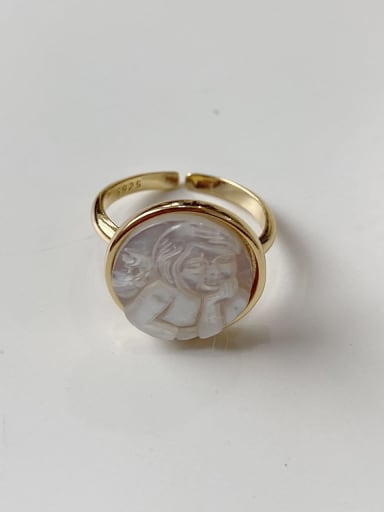 925 Sterling Silver Shell Round Vintage Band Ring