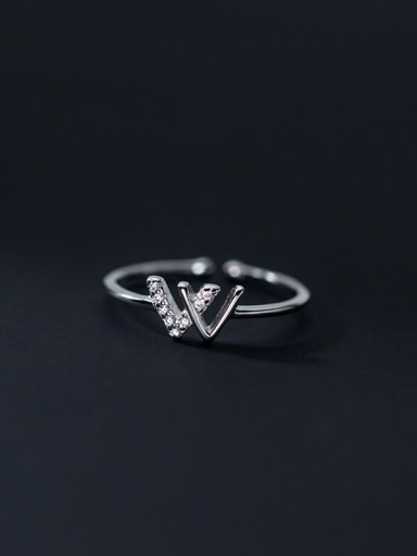 silver 925 Sterling Silver Cubic Zirconia Triangle Minimalist Band Ring