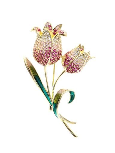 Brass Cubic Zirconia Flower Statement Brooch