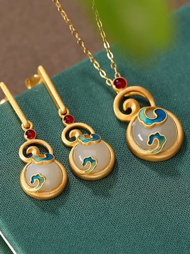925 Sterling Silver Jade Enamel Vintage Geometric  Earring and Necklace Set