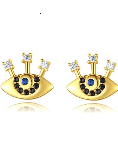 925 Sterling Silver Cubic Zirconia Evil Eye Ethnic Stud Earring