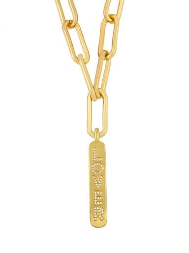lover Copper Cubic Zirconia Letter Vintage Long Strand Necklace