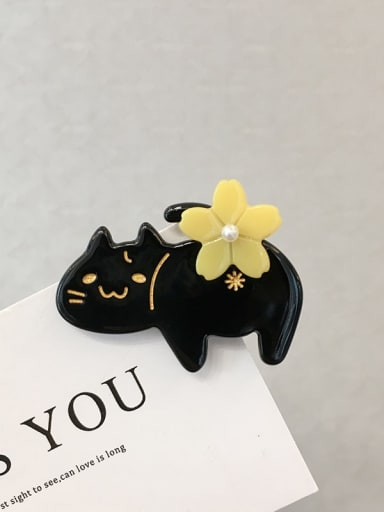 black Alloy Cellulose Acetate Cute Cat  Hair Barrette