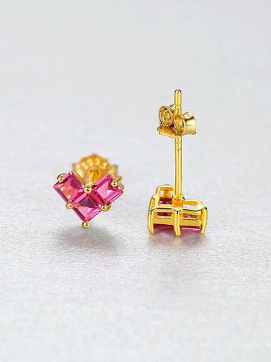 Rd 25H07 925 Sterling Silver Cubic Zirconia Heart Dainty Stud Earring