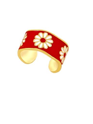 gules Brass Enamel Flower Hip Hop Band Ring