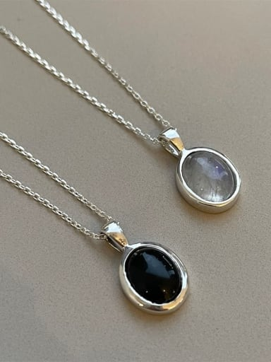 925 Sterling Silver Cats Eye Geometric Vintage Necklace