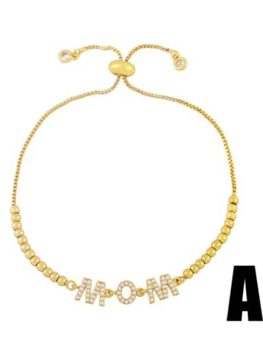 Brass Cubic Zirconia Letter Minimalist Beaded Bracelet