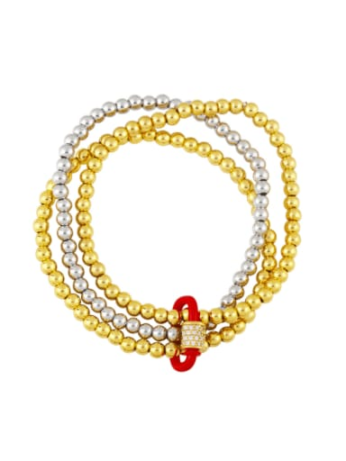 red Brass Bead Enamel Geometric Vintage Beaded Bracelet