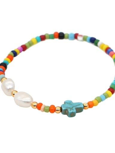QT B200102H Stainless steel MGB  Bead Multi Color Letter Bohemia Stretch Bracelet