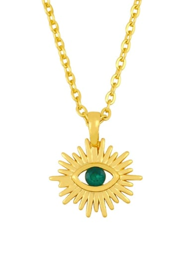 green Brass Cubic Zirconia Evil Eye Vintage Necklace