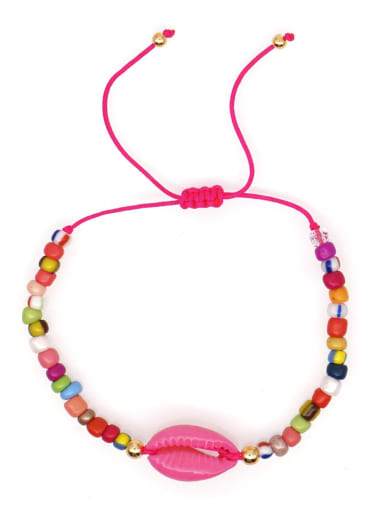 B B200011C Stainless steel Glass Bead Multi Color Geometric Bohemia Woven Bracelet