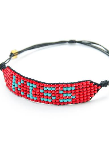 MG B180211C Stainless steel Bead Multi Color Geometric Bohemia Handmade Weave Bracelet