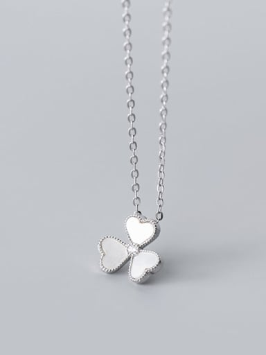Silver 925 Sterling Silver Shell Flower Minimalist Necklace