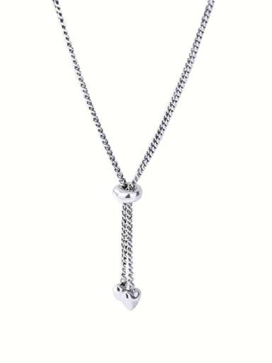 925 Sterling Silver Heart Tassel Vintage Lariat Necklace