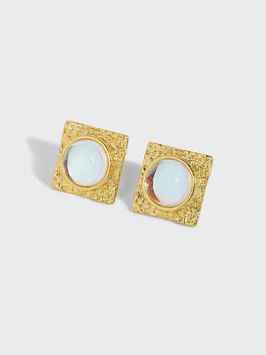 925 Sterling Silver Opal Geometric Vintage Stud Earring