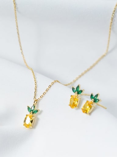 925 Sterling Silver Cubic Zirconia  Cute Small pineapple pendant Necklace