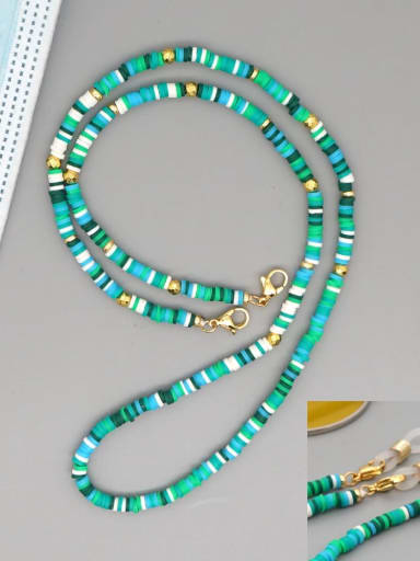 RT N200005E Stainless steel Bead Multi Color Polymer Clay Round Bohemia Hand-woven Necklace