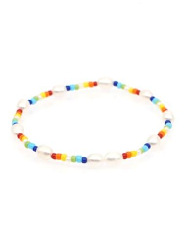 ZZ B200005C Freshwater Pearl Multi Color Irregular Bohemia Stretch Bracelet