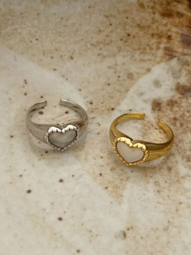 925 Sterling Silver Shell Heart Vintage Band Ring