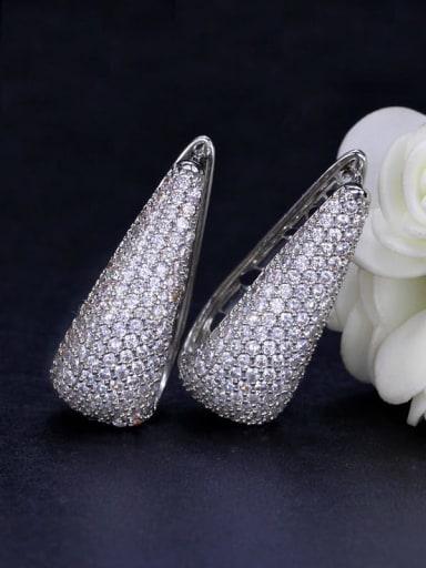 platinum Brass Cubic Zirconia Geometric Luxury Stud Earring