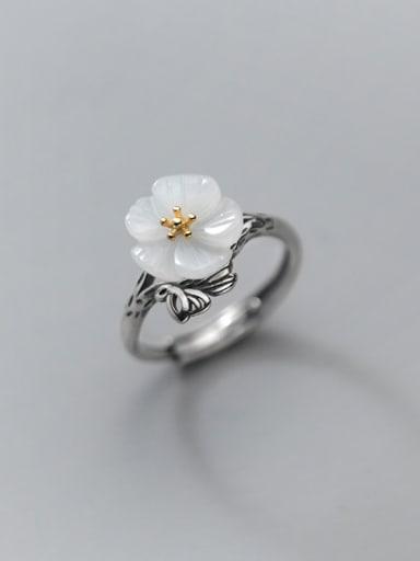 925 Sterling Silver Resin Flower Vintage Band Ring