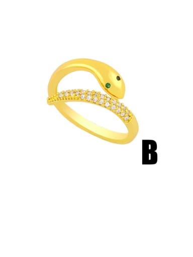 B Brass Cubic Zirconia Snake Vintage Band Ring