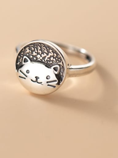 925 Sterling Silver Cat Cute Band Ring