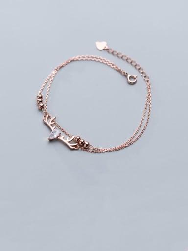 925 Sterling Silver  Minimalist Diamond inlaid elk pattern double layer  Link Bracelet