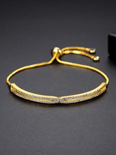 JRB 005 gold Brass Cubic Zirconia Geometric Trend Adjustable Bracelet