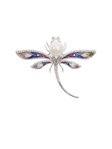 platinum Brass Cubic Zirconia Dragonfly Trend Brooch