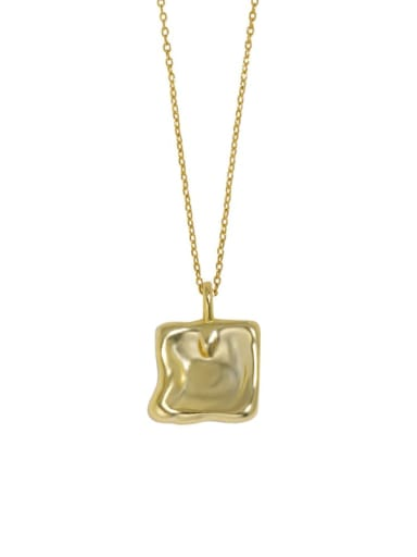 18K gold 925 Sterling Silver Smooth Geometric Vintage Necklace