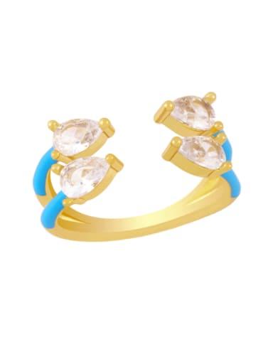 blue Brass Enamel Water Drop Trend Stackable Ring