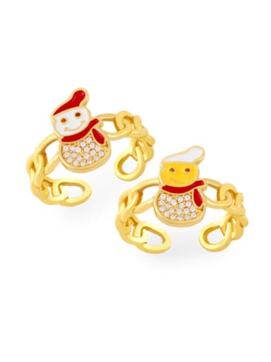 Brass Enamel Cubic Zirconia Icon snowman Trend Band Ring