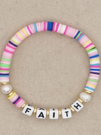 QT B200145C Stainless steel Multi Color Polymer Clay Letter Bohemia Stretch Bracelet