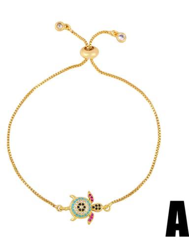 Brass Cubic Zirconia Turtle Cute Link Bracelet
