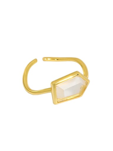 Gold [13 adjustable] 925 Sterling Silver Glass Stone Geometric Vintage Band Ring